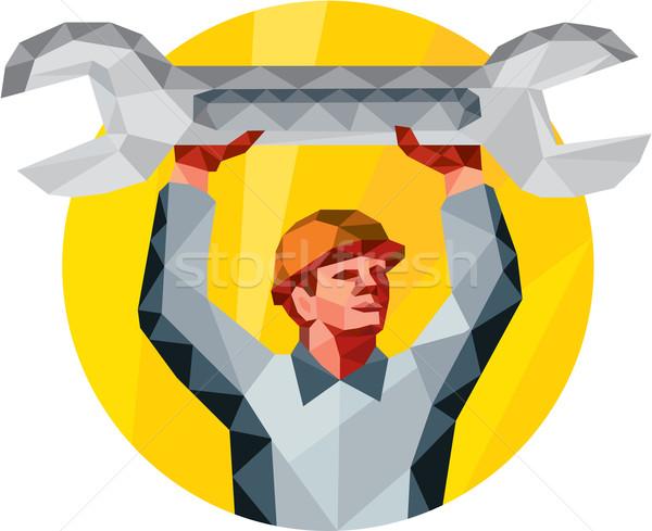 механиком гаечный ключ ключа круга низкий многоугольник Сток-фото © patrimonio