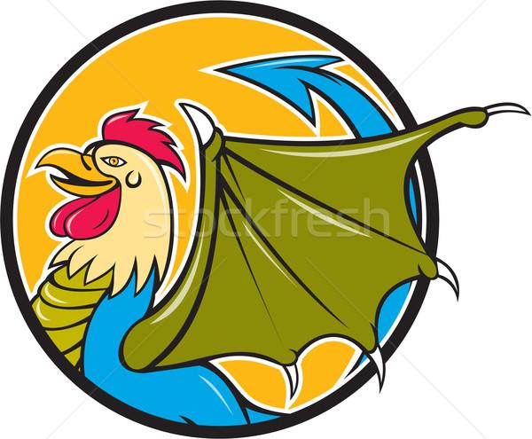 Basilisk Bat Wing Circle Cartoon Stock photo © patrimonio