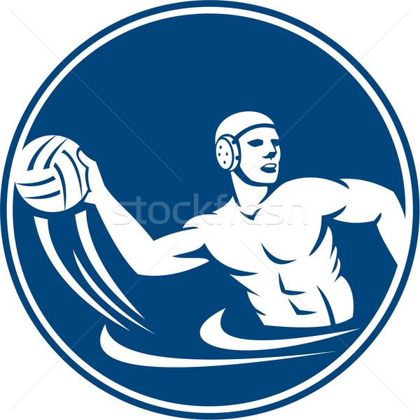 Water Polo Player Throw Ball Circle Icon Stock photo © patrimonio