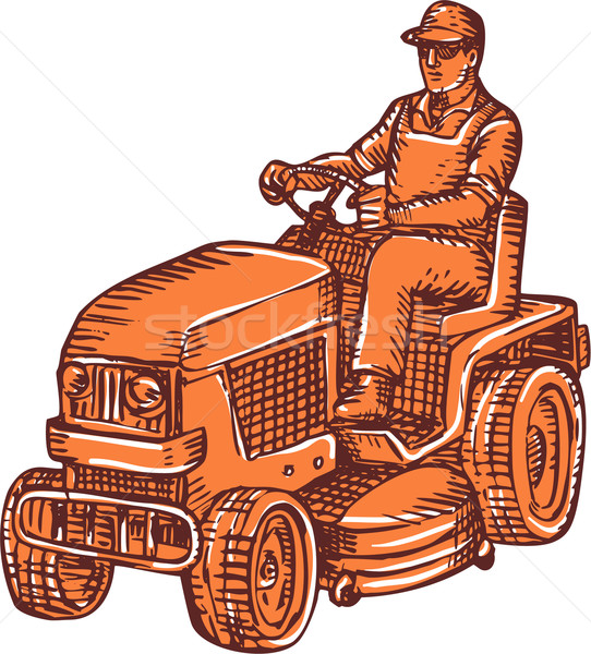 Gardener Ride-On Mower Etching Stock photo © patrimonio