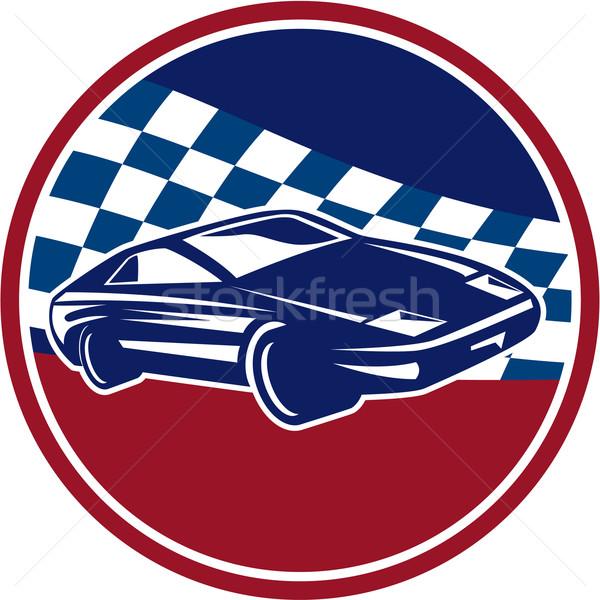 Спортивный автомобиль Racing флаг круга ретро Сток-фото © patrimonio