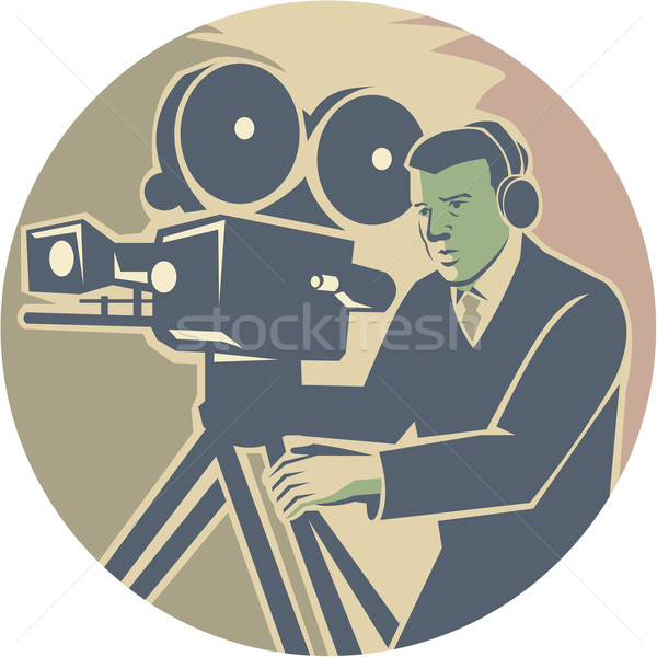Cameraman Moviemaker Vintage Camera Retro Stock photo © patrimonio