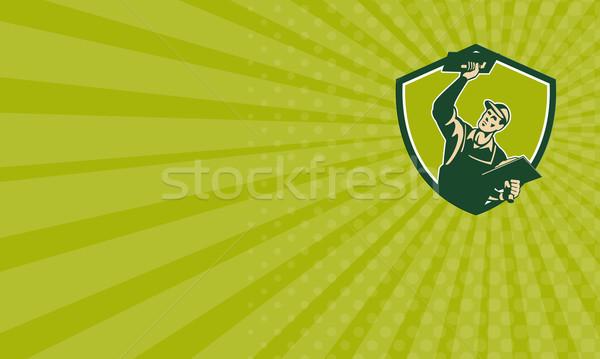 Mason pracownika tarcza retro ilustracja Zdjęcia stock © patrimonio