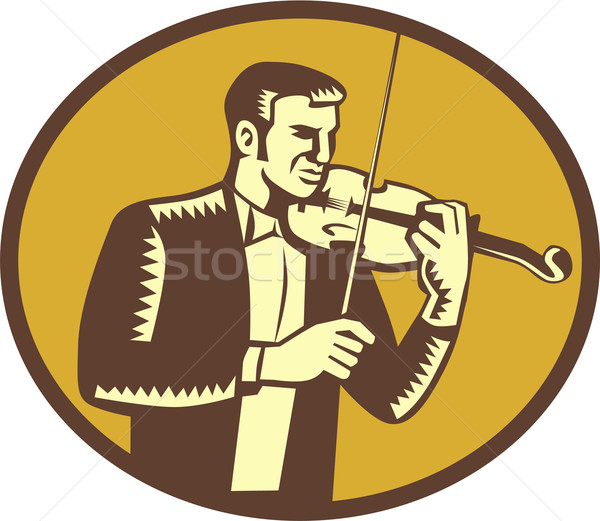 Violinist Musician Playing Violin Woodcut Stock photo © patrimonio