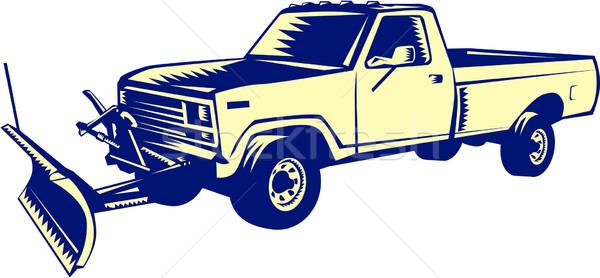 Snow Plow Truck Woodcut Stock photo © patrimonio