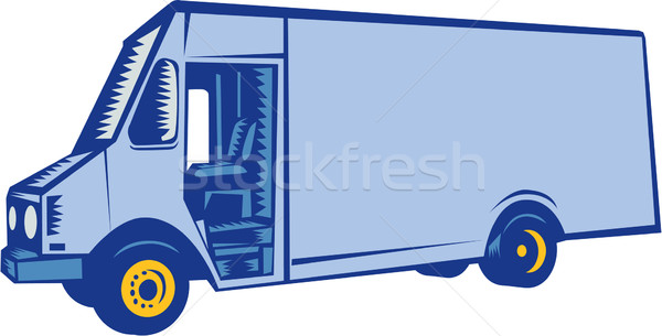 Delivery Van Side Woodcut Stock photo © patrimonio
