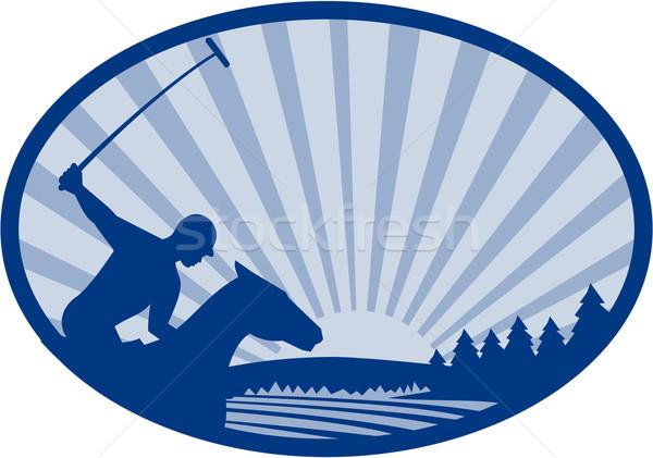 プレーヤー ライディング 馬 山 ファーム オーバル ストックフォト © patrimonio