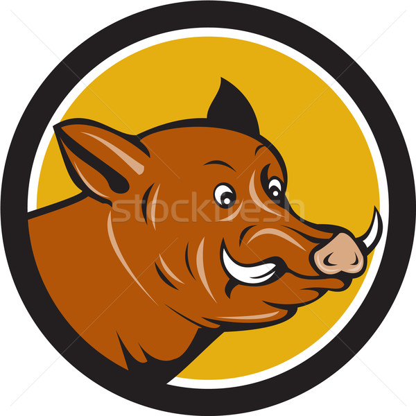 Wild Boar Razorback Head Startled Circle Cartoon Stock photo © patrimonio