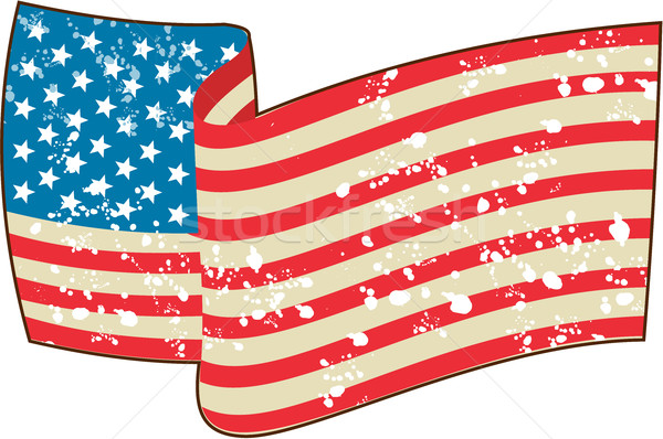 USA Flag Stars and Stripes Grunge Wavy Retro Stock photo © patrimonio