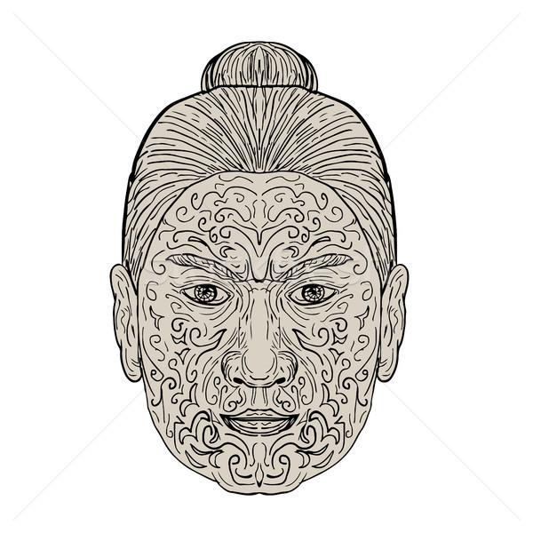 Maori Face with Moko facial Tattoo Stock photo © patrimonio