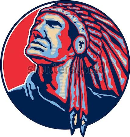 Eagle Head Side Woodcut Stock photo © patrimonio
