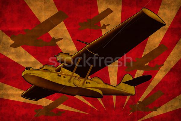 Stock fotó: Repülés · csónak · tenger · repülőgép · retro · illusztráció