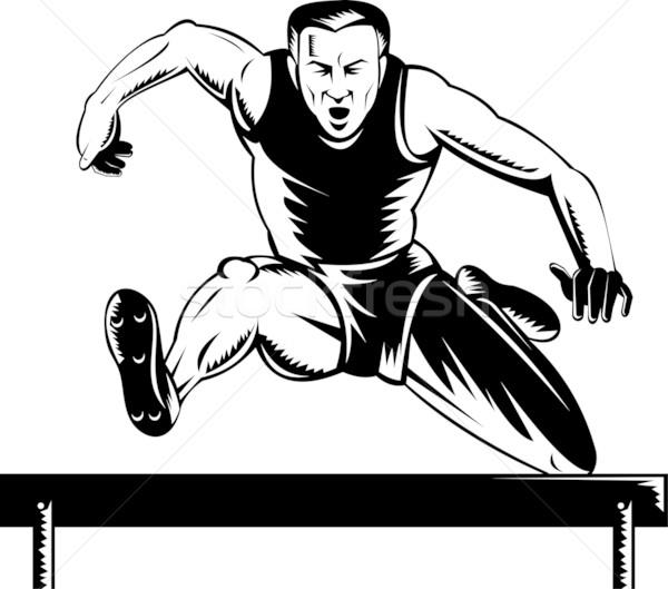 Track veld atleet springen horden illustratie Stockfoto © patrimonio