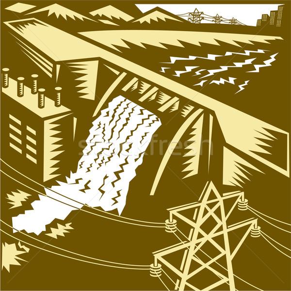 Hydroelectric Hydro Energy Dam Woodcut Stock photo © patrimonio