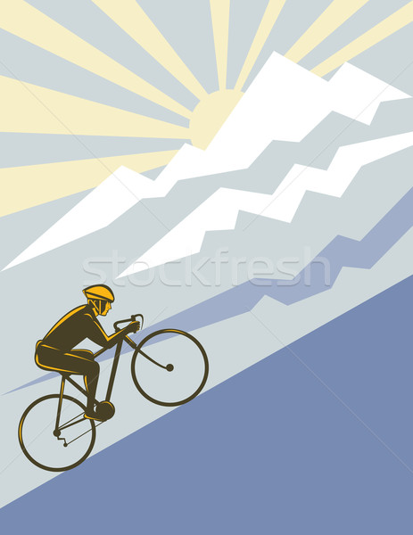 cyclist riding bicycle up mountain Stock photo © patrimonio