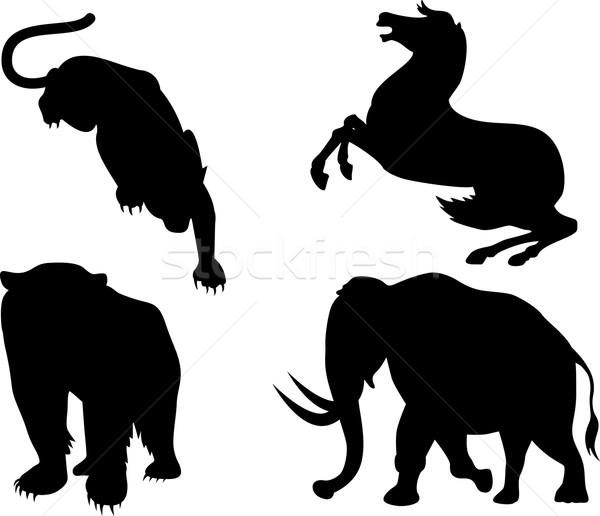 Yaban hayatı siluetleri örnek hayvanlar at aslan Stok fotoğraf © patrimonio