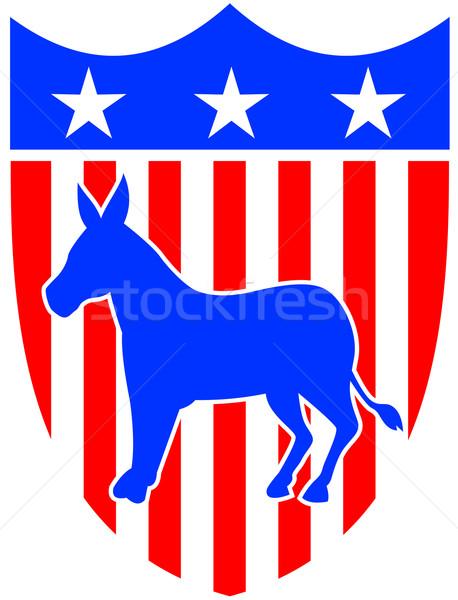Demokrata osioł maskotka ilustracja demokratyczny starych Zdjęcia stock © patrimonio
