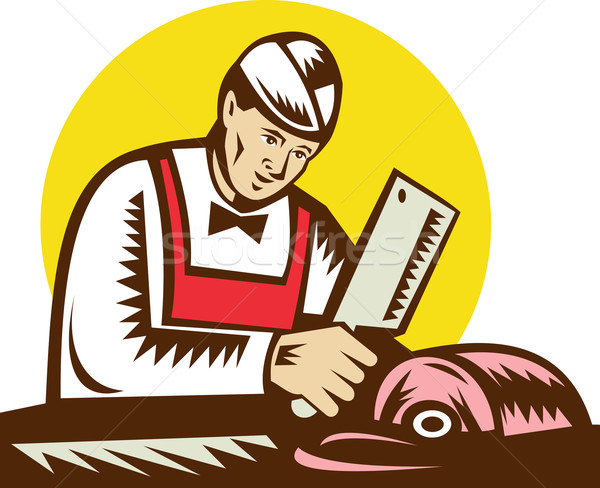 Butcher holding cleaver with meat  Stock photo © patrimonio