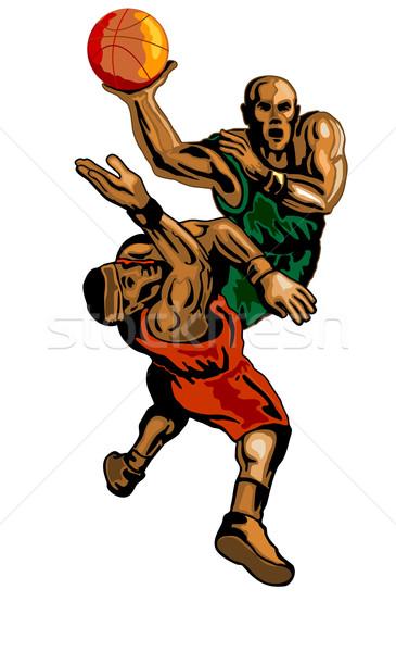 Basketball Player Dunking Blocking Stock photo © patrimonio