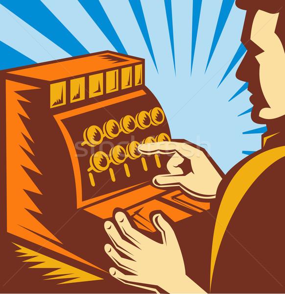 Stockfoto: Verkoop · kassier · kassa · illustratie · geld · man