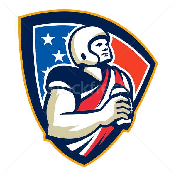American Gridiron Quarterback Ball Crest Stock photo © patrimonio