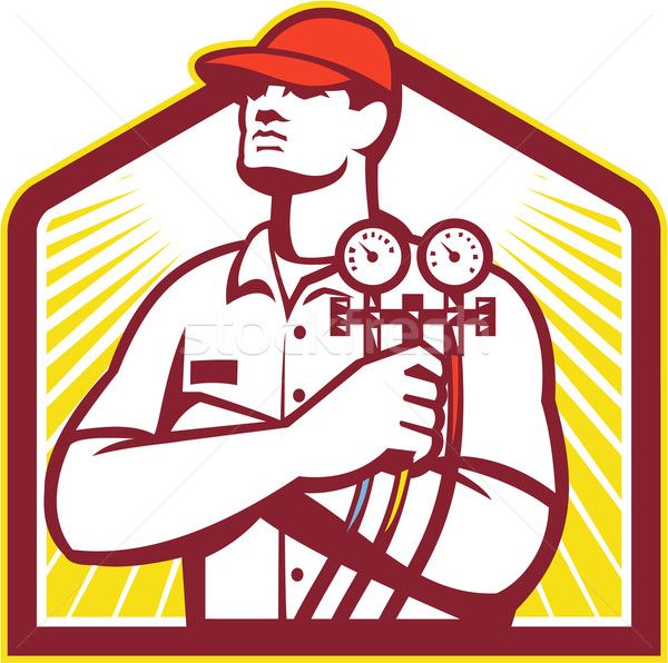 Heating and Cooling Refrigeration Technician Retro Stock photo © patrimonio