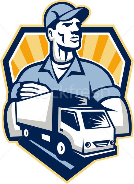 Eltávolítás férfi szállítóautó címer retro illusztráció Stock fotó © patrimonio