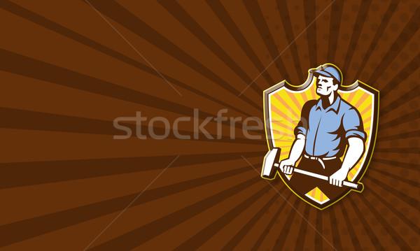 Worker Wielding Sledgehammer Crest Retro Stock photo © patrimonio