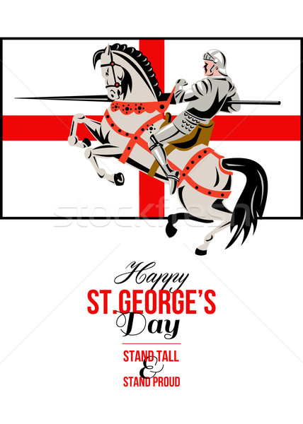 Stand Tall Stand Proud Happy St George Day Retro Poster Stock photo © patrimonio