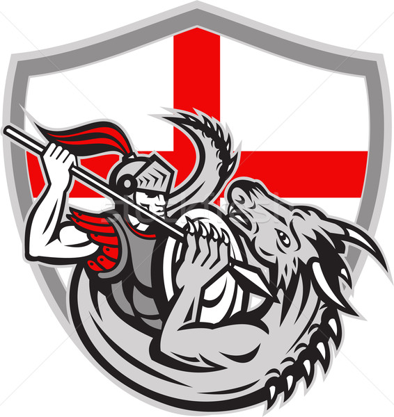 English Knight Fighting Dragon England Flag Shield Retro Stock photo © patrimonio