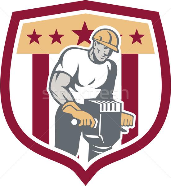 Construction Worker Jackhammer Shield Retro Stock photo © patrimonio