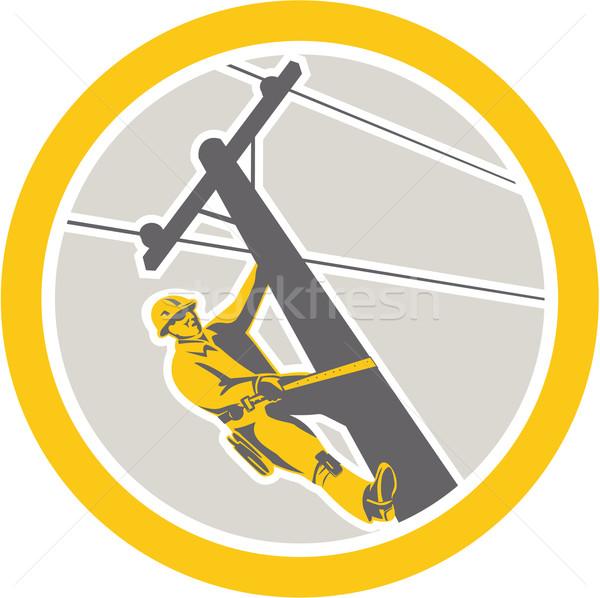 Power Lineman Repairman Climbing Pole Circle Stock photo © patrimonio