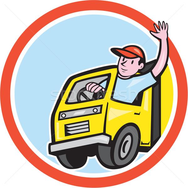 Delivery Truck Driver Waving Circle Cartoon Stock photo © patrimonio