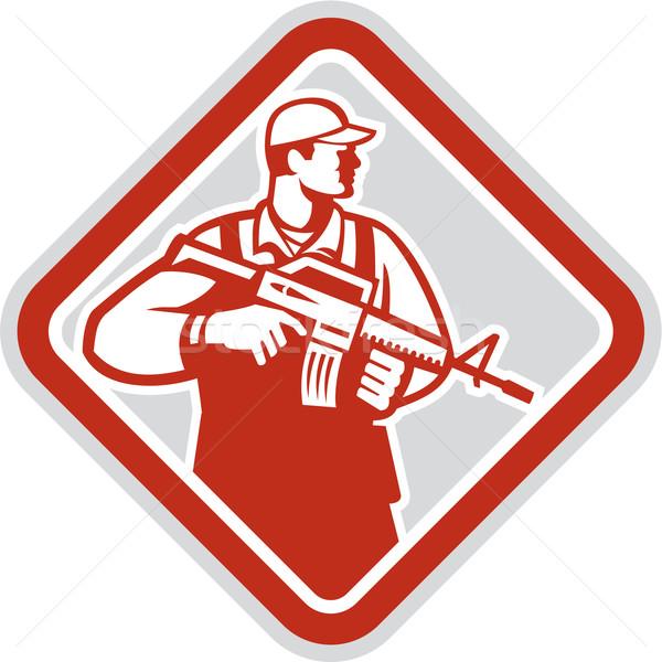 Soldaat militaire aanval geweer schild retro Stockfoto © patrimonio