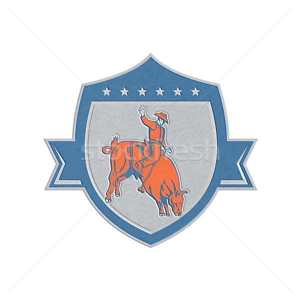 Metallic Rodeo Cowboy Bull Riding Retro Shield Stock photo © patrimonio