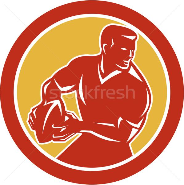 Rugby Player Passing Ball Circle Retro Stock photo © patrimonio