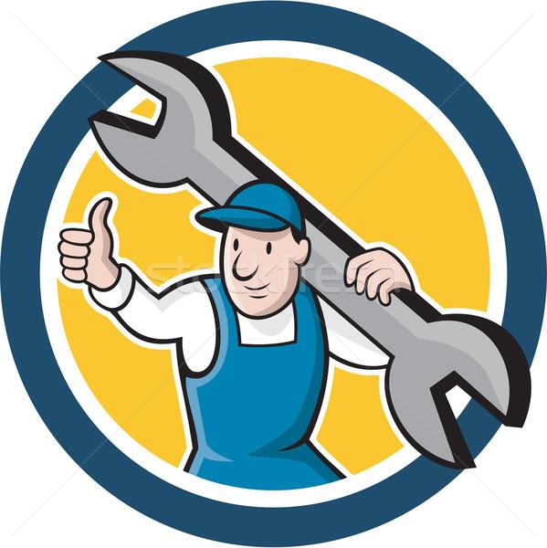 Mechanic Thumbs Up Spanner Circle Cartoon Stock photo © patrimonio
