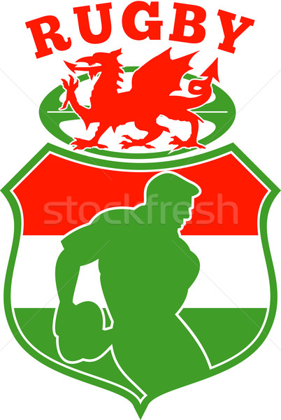 welsh rugby player wales dragon shield Stock photo © patrimonio