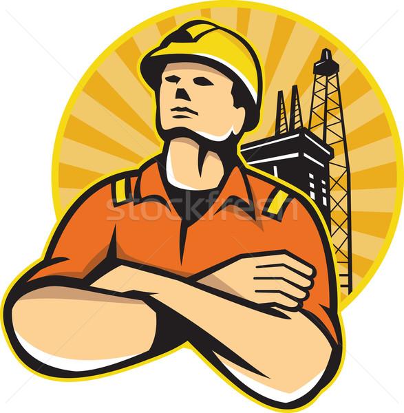 Offshore olie gas werknemer retro illustratie Stockfoto © patrimonio