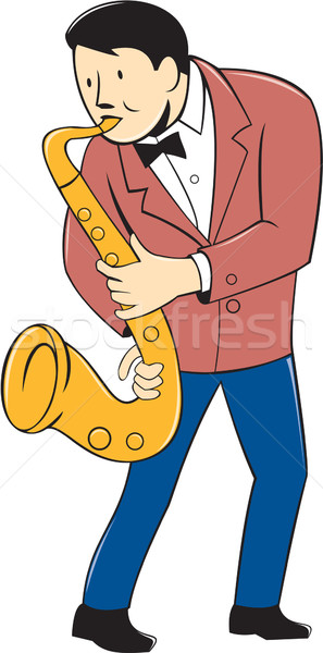 Muzikant spelen saxofoon cartoon illustratie permanente Stockfoto © patrimonio