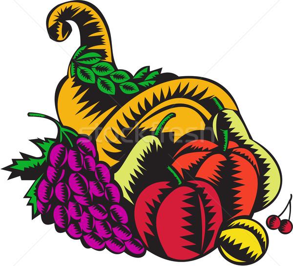 Cornucópia fruto colheita ilustração cesta maçã Foto stock © patrimonio