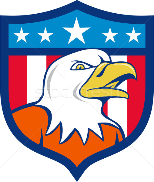 American Bald Eagle Head Angry Flag Crest Cartoon  Stock photo © patrimonio