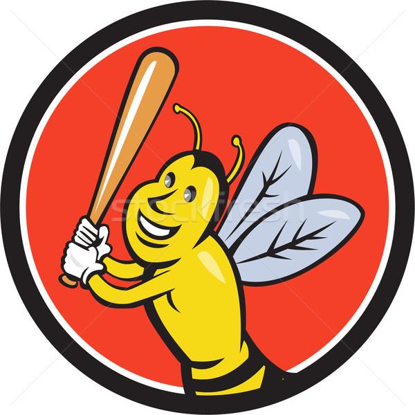 Katil arı beyzbol oyuncusu daire karikatür stil Stok fotoğraf © patrimonio