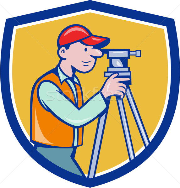Surveyor Geodetic Engineer Theodolite Shield Cartoon Stock photo © patrimonio