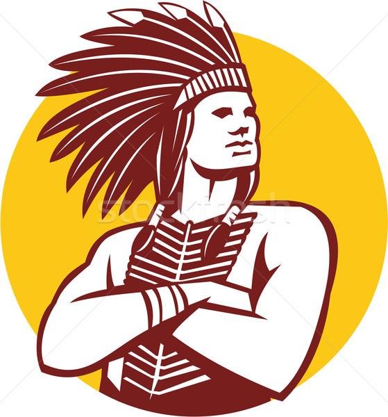 Native American Indian Chief Warrior Circle Retro Stock photo © patrimonio