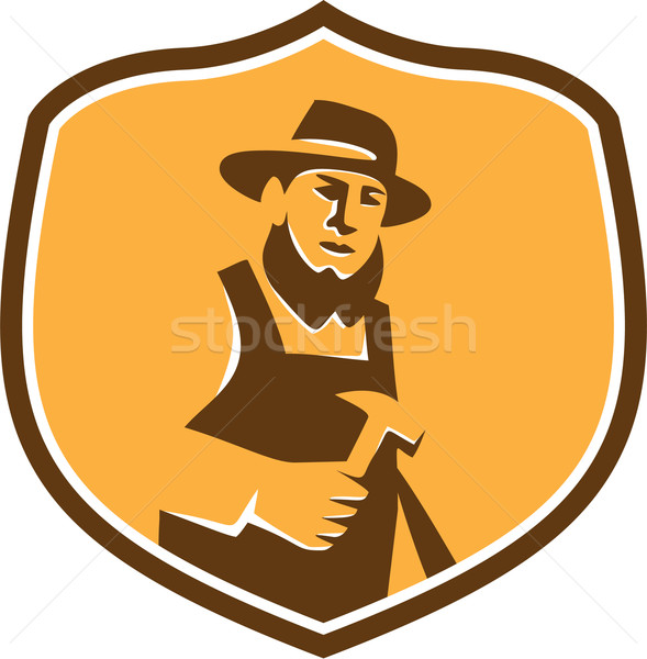 Amish Carpenter Holding Hammer Crest Retro Stock photo © patrimonio