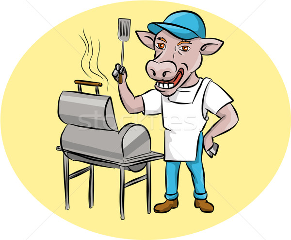 Vaca barbacoa chef fumador oval Cartoon Foto stock © patrimonio