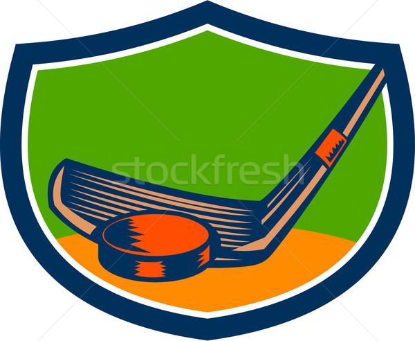 Hockey Puck Stick Crest Retro Stock photo © patrimonio
