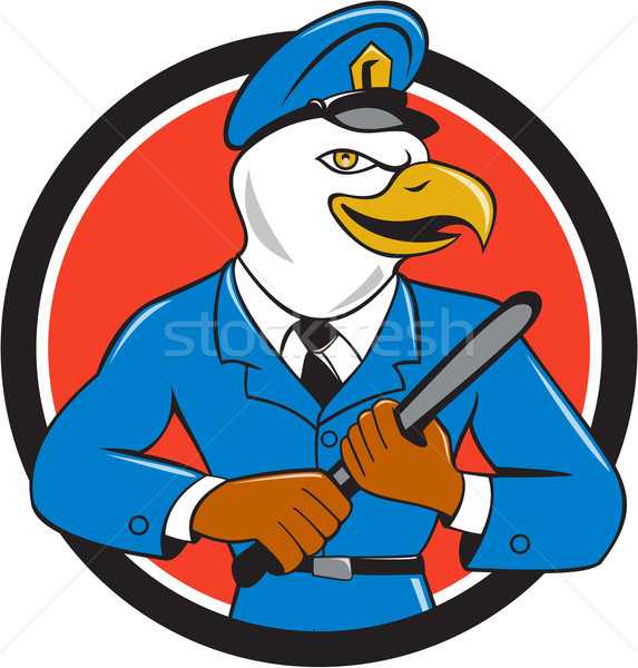 Bald Eagle Policeman Baton Circle Cartoon Stock photo © patrimonio