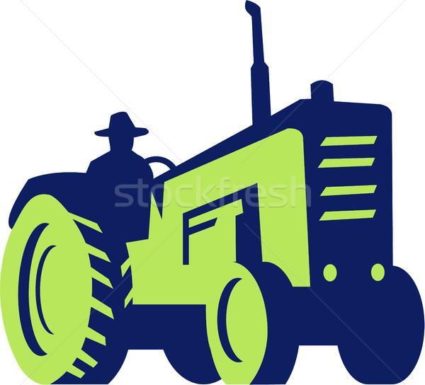 Organic Farmer Driving Vintage Farm Tractor Stock photo © patrimonio